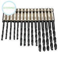 <b>15pcs Set High Speed</b> Steel Nitrogen Black Hex Shank Twist <b>Drill</b> ...