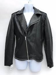 zara mens black faux leather studded biker jacket size large 0706 443