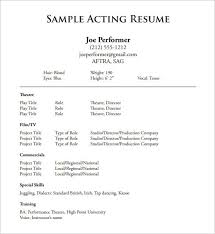 Printable Resume Templates Word Free Download Acting Resume Template