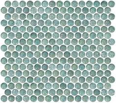 Penny Round Aqua Blue Iridescent Glass Tile