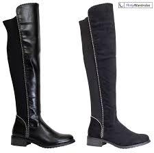 Durango Boots Size Chart Knee High Stretchy Boots Zip Up Studs Flat Block Heel Womens Winter Shoes