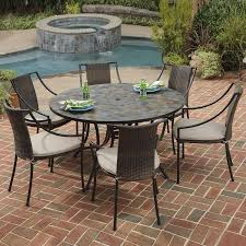 stone outdoor dining table styles stone harbor  piece slate stone patio dining set at lowescom