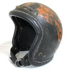 mac hall jet helmet black s medium size equivalency winding leather round trim mchal vintage