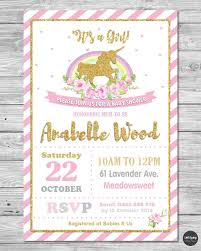 Baby Shower Invitation Cards Details About Unicorn Baby Shower Personalised Invitations