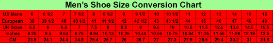 Mens Size Charts For Clothes With Measurments