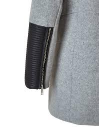 pleather trim wool coat pearl grey hi res