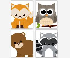 canvas prints for baby room. Baby Boys Canvas Nursery Wall Art Brown Gray Grey Large Owl Fox Bear Raccoon Deer Forest Animals Woodland Creatures Prints Decor For Room P