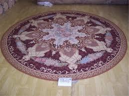 flat weave aubusson rug round 8 3 x 8 3 burdy field pink border 100 new zealand wool hand woven gc4aub45