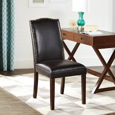 dining room accent chairs. Better Homes And Gardens Classic Parsons Chair Silhouette Faux Leather Living Room Accent With Nailheads Solid Wood Legs, Rich Dark Brown Textured Dining Chairs A