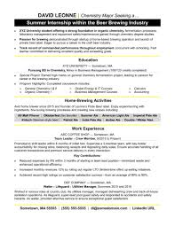 Internship Resume For Accounting Student Sample Objective Template