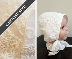 White Baby Bonnet With Scroll Lace Overlay Any Size 3 To 18 Months Made To Order Roberta Style Custom Vintage Style Baby Hat With Ties