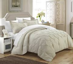 com chic home 3 piece veronica pinch pleat pintuck duvet cover set queen beige home kitchen