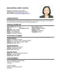 Lovely Resume Sample Teacher Philippines Gallery Entry Level