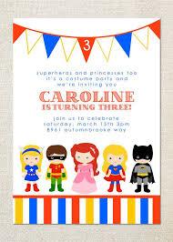 Superhero And Princess Dress Up Birthday Party Invitations