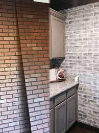 before and after brick panel painted white brick backsplash faux brick