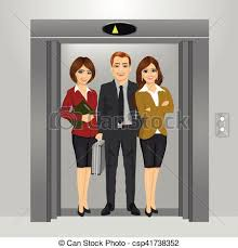people in elevator clipart. vector - business people standing together inside office building elevator in clipart