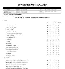 truck driver evaluation form driver performance evaluation form evaluation forms