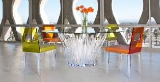 modern acrylic furniture. Clear Acrylic Furniture Modern Contemporary Lucite Pedestal Sculpture Exquisite Round Dining Table Orange Yellow Chairs Elegant