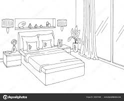 bedroom graphic black white home interior sketch ilration vector stock ilration