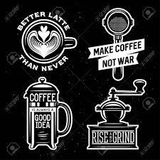引用符とコーヒー関連イラスト上昇し挽きます決してより良いラテ戦争のないコーヒーを作るコーヒ