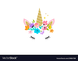 Unicorn Head With Flowers Card And Shirt Design Vector Image