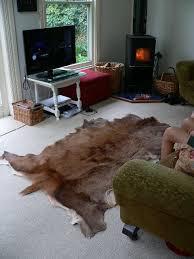 deer skin floor rug