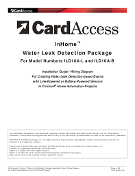 "card access install guide inhomeâ""¢ water leak detection package for model numbers ild10a l and ild10a b installation guide wiring diagram"