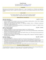 Enjoyable Military Resume Examples 1 Example Sample Resumes And