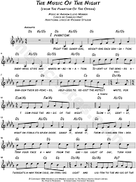 phantom of the opera song sheet music