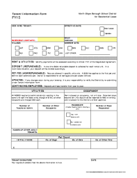 Fillable Online Tenant Information Form Fy15 For Residential Lease ...