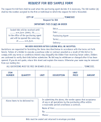 bid form example bid request form template