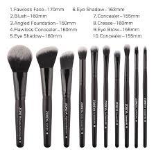 zoreya brand black makeup brushes