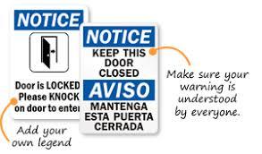 please lock door sign. Keep Door Closed Signs Please Lock Sign