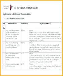 Training Progress Report Template Staff Sample Pdf Example