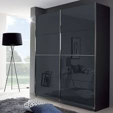 rauch talara colour 2 door glass 1 mirror sliding wardrobe in metallic grey and basalt with chrome handle strip w 181cm