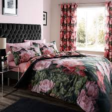 catherine lansfield dramatic fl black pink duvet quilt cover