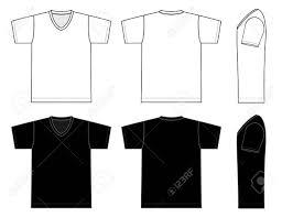 V Neck T Shirt Template Vector Illustration In Black And White