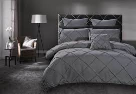 queen size grey diamond pintuck quilt cover set 3pcs wholes direct