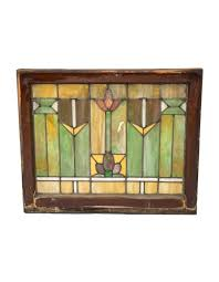 all original and intact antique american salvaged chicago prairie school style richly colored residential stained glass