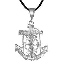 mariner s crucifix anchor cross pendant diamond cut m in sterling silver