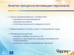 Презентация на тему Совершенствование процесса мотивации  7 7 Анализ процесса мотивации