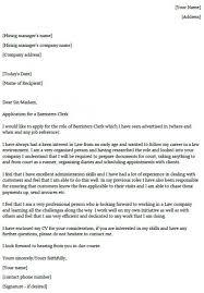Barristers Clerk Cover Letter Example Lettercv Com