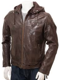mens brown leather hoo jacket anstey