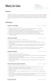 Unit Manager Resume Samples Visualcv Resume Samples Database