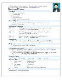 Resume Format Examples For Freshers Mca Fresher Example In Word