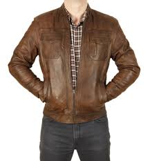 sl101212 antique brown leather pocketed biker jacket