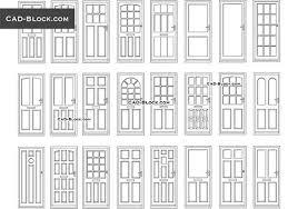 doors cad blocks in plan front view