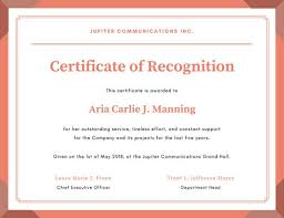 Coral Framed Formal Recognition Certificate Templates By Canva