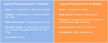 Food Portion Size Chart Portion Size Guide For Adults And Children Early Start Group