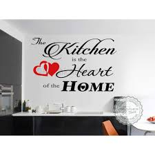 kitchen is the heart of the home kitchen dining room wall art quote vinyl decor decal with red heart